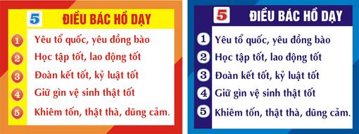 Bảng 5 điều Bác Hồ dạy mẫu 1